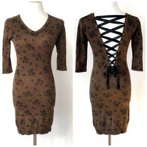 Joyce Leslie Lace Up Knit Sexy Bodycon Dress